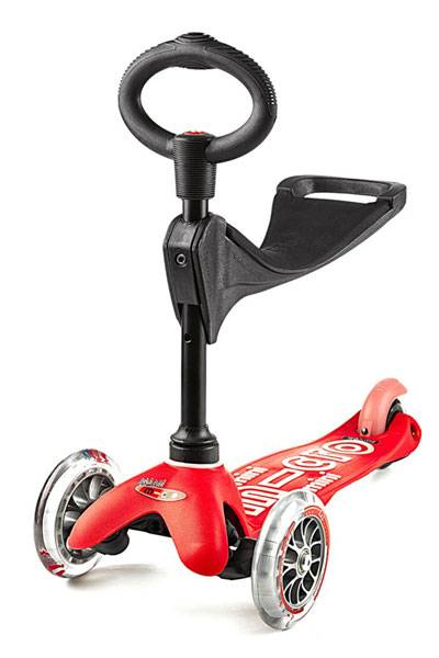 Micro Mini Deluxe 3 in 1 kid's scooter in red