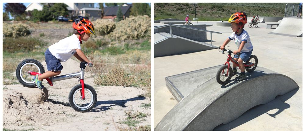 toddler riding his balance bike over a dirt ledge and then at a skate park