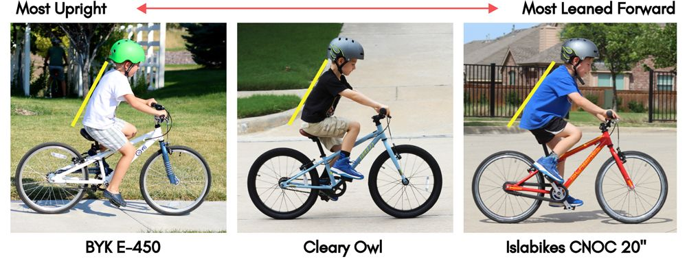 Collage of three 20 inch bikes showing a 7 year old's body position. The BYK E450 is the most upright, the Cleary Owl is more leaned forward, and the Islabikes CNOC 20 inch is the most leaned forward or aggressive.