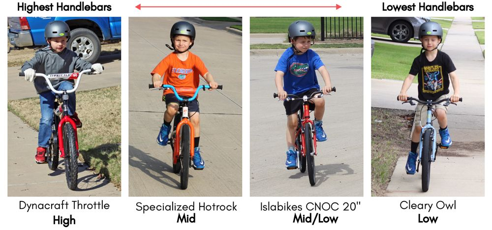 "Four different 20"" kids' bikes with different handlebar heights, in order from highest handlebars, to lowest. Dynacraft Throttle, Specialized Hotrock, Islabikes CNOC 20"", and Cleary Owl."