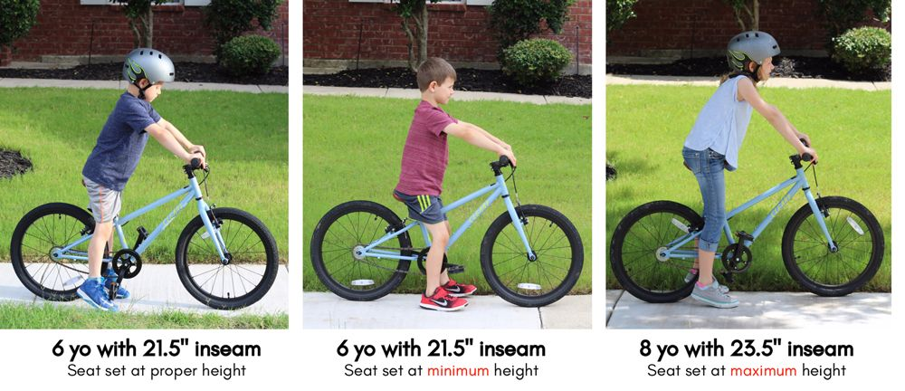 "Comparison of seat height versus the inseam of the child rider. 6-year-old with 21.5"" inseam fits the Cleary Owl perfectly, while his 8-year-old sister with 23.5"" inseam is almost too tall for the bike."