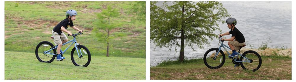 Two side by side images of 6-year-old boy riding the Cleary owl on grass and dirt.