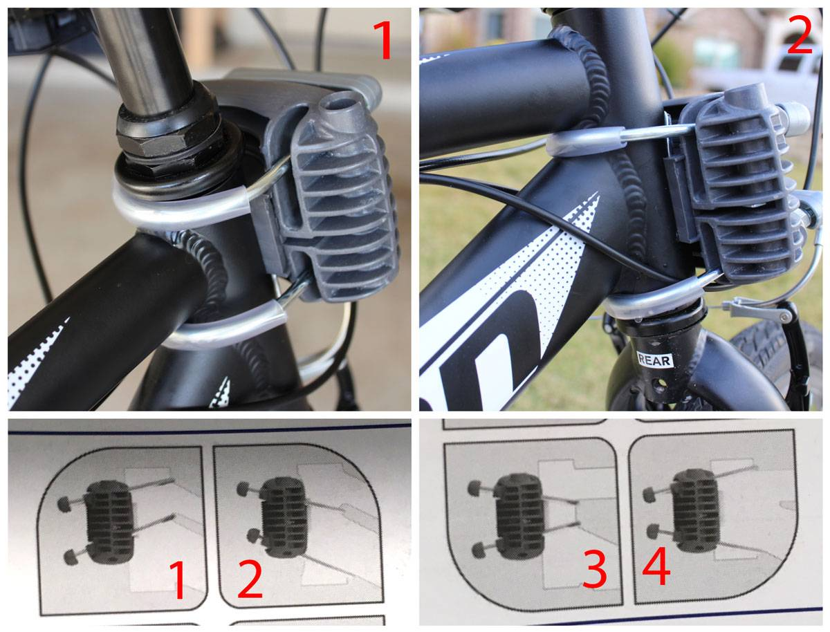 Different options for mounting the Peg Perego Orion child bike seat to the frame of the bike