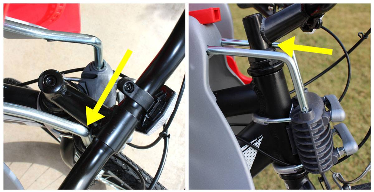 Mounting bars on Peg Perego Orion child bike seat can interfere with handlebars if the seat is mounted high.