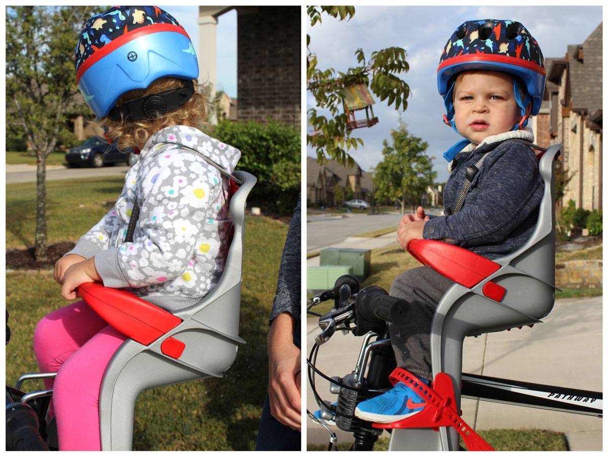 24 month old and 15 month old in Peg Perego Orion child bike seat
