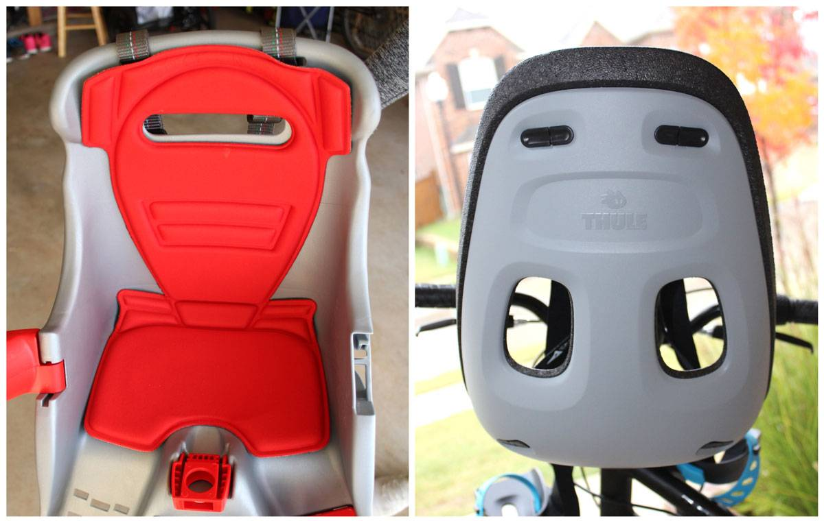 Side by side comparison of ventilation on Peg Perego Orion and Thule Yepp Nexxt Mini child bike seats