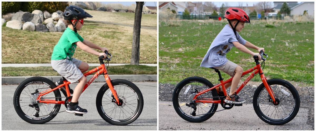 "Side by side size comparison of 7 and 8-year-olds riding Pello Rover 20"" kid's bike"