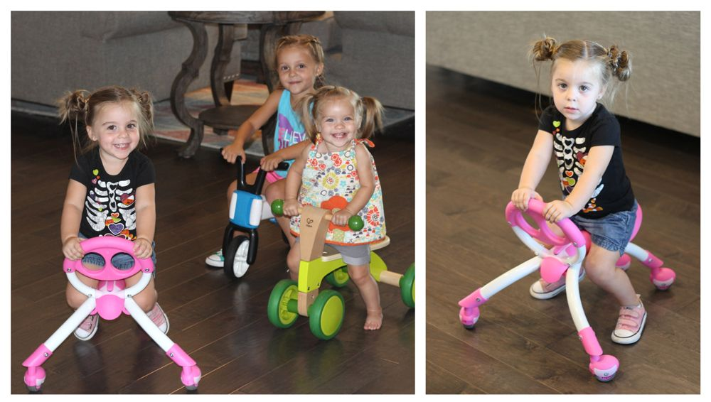 2.5-year-old riding YBIKE Pewi, 16-month-old riding Hape Scoot Around, and 3-year-old riding Chillafish Bunzi.