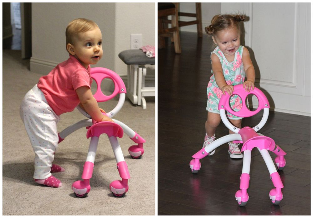 10 month old and 15 month old toddlers pushing the YBIKE Pewi around the house