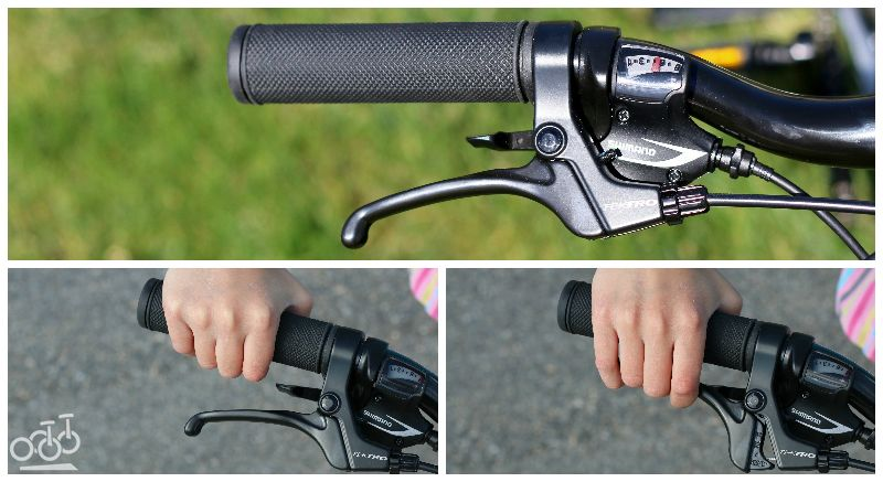 Brake levers on Prevelo Alpha Four are easy for child hands to reach and engage.