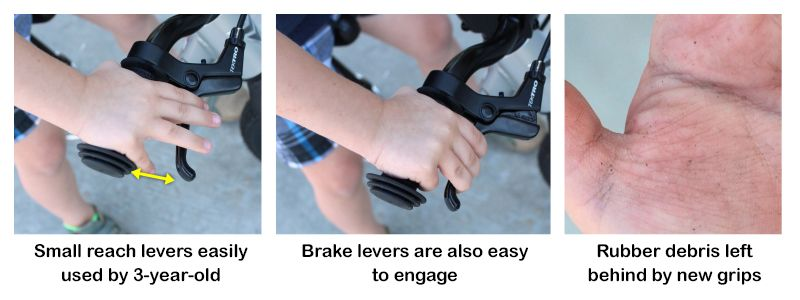 Prevelo Alpha Zero small reach levers are easily used by 3-year-old. Rubber debris left on hands by new grips.