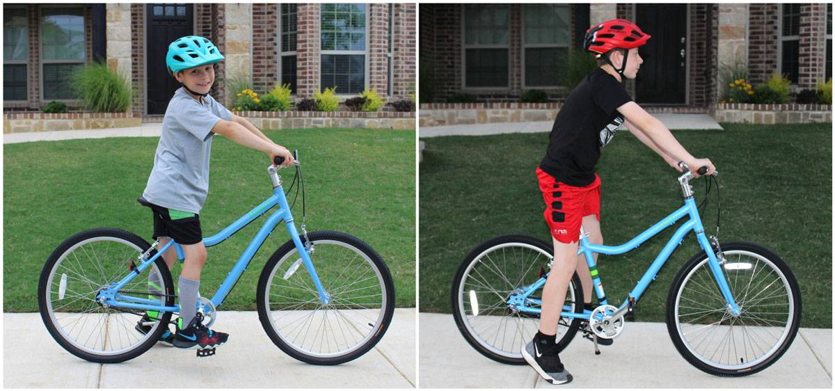 "8 year old and 12 year old on Priority Start 24"" kid's bike. Side by side comarison for sizing"