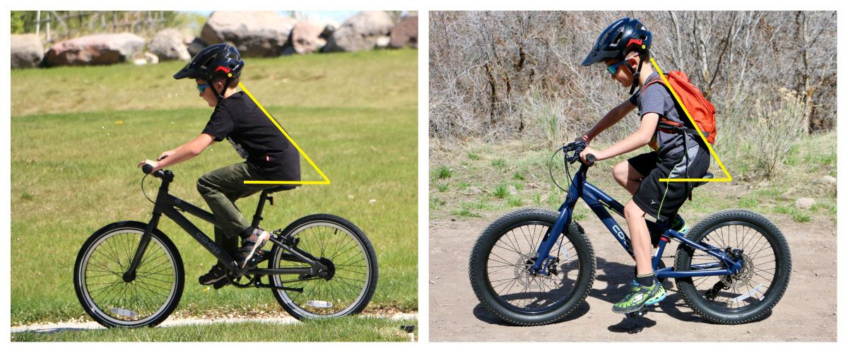 Side by side comparison of a boy riding REI Kids Bikes Co-Op REV 20 inch geared bike and single speed bike. He is more upright oh the REV Plus 6 speed.