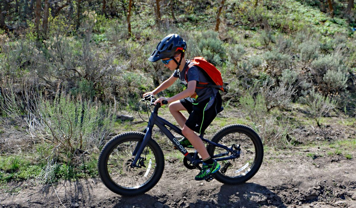 Boy riding a REI Kids Bikes Co-Op REV plus 20 inch geared bike on mountain trail