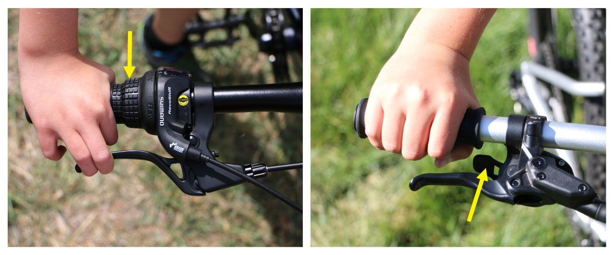 Grip shifter on a REI Cycles Co-Op REV Plus 20 geared bike can be a little difficult for kids with small hands.