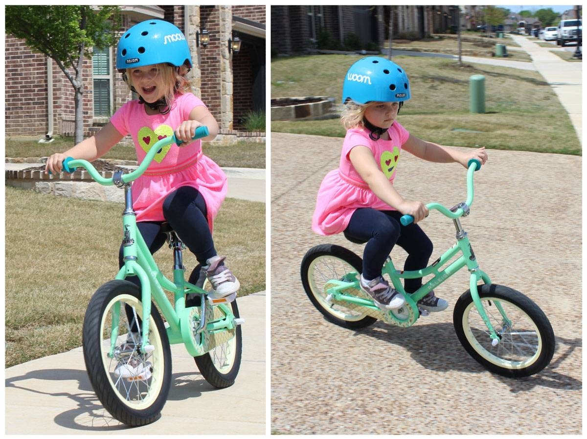 5-year-old girl riding Raleigh Jazzi 16 down sidewalk and driveway