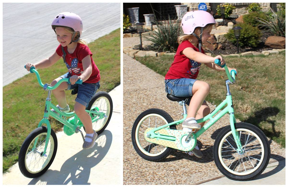 "5-year-old girl riding Raleigh Jazzi 16"" kid's bike down sidewalk and driveway"