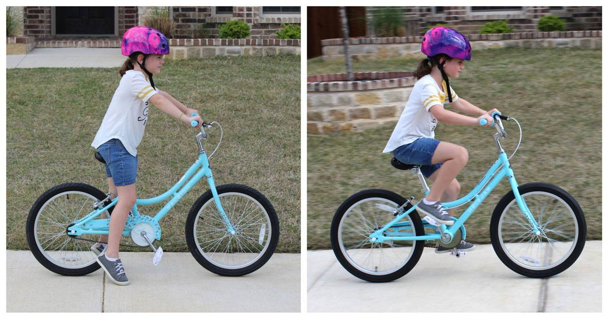 Side shot of 7-year-old riding the Raleigh Jazzi with a relatively upright body position