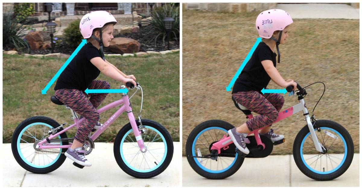 "5-year-old riding Raleigh Lily 16"" kid's bike down sidewalk in neighborhood - side shot comparing more space and more leaned in body position of Lily over the Royalbaby 16"" bike"
