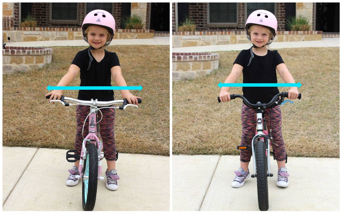 "Side by side head on shot of Raleigh Lily 16"" and RoyalBaby 16"" showing handlebars of Lily are wider"