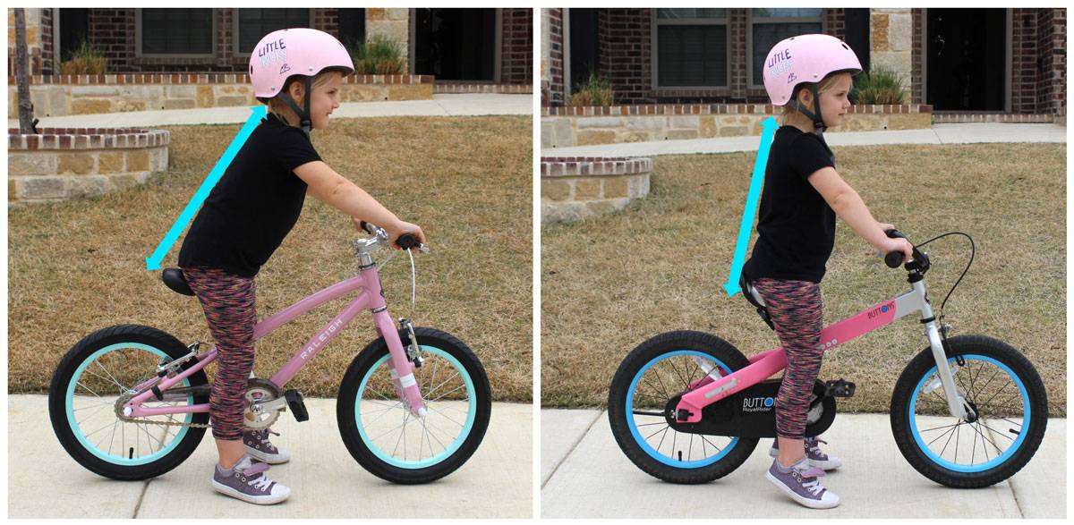 "Side by side side shot of 5-year-old on Raleigh Lily 16"" and RoyalBaby 16"" showing aggressive handlebars require rider to lean much farther forward on the Raleigh Lily than on the RoyalBaby 16"" kid's bike"