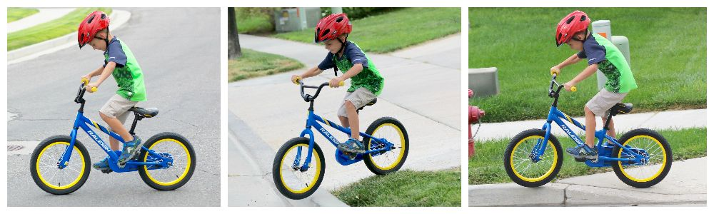6-year-old riding a bright blue Raleigh MXR 16 kid's bike while standing and then while sitting and going over curbs.