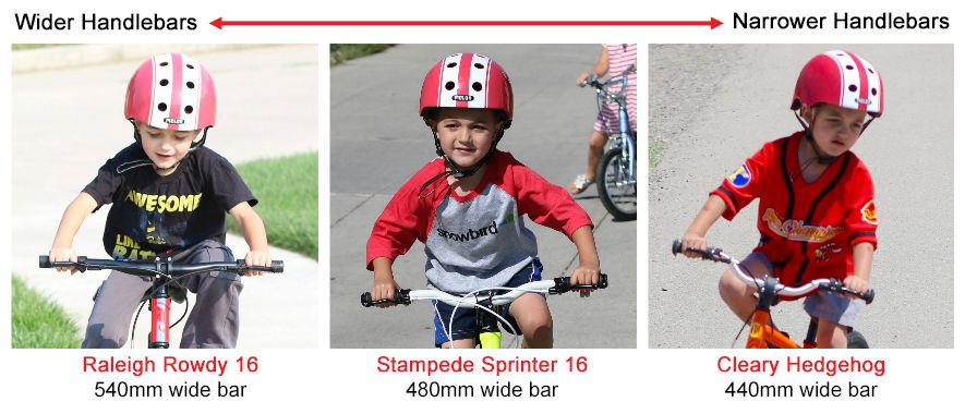 "Three images of 16"" kid's bikes on a scale of wider handlebars to narrower handlebars. In order, Raleigh Rowdy 16 with 540 mm wide bar, Stampede Sprinter with 480 mm wide bar, and Cleary Hedgehog with 440 mm wide bar."