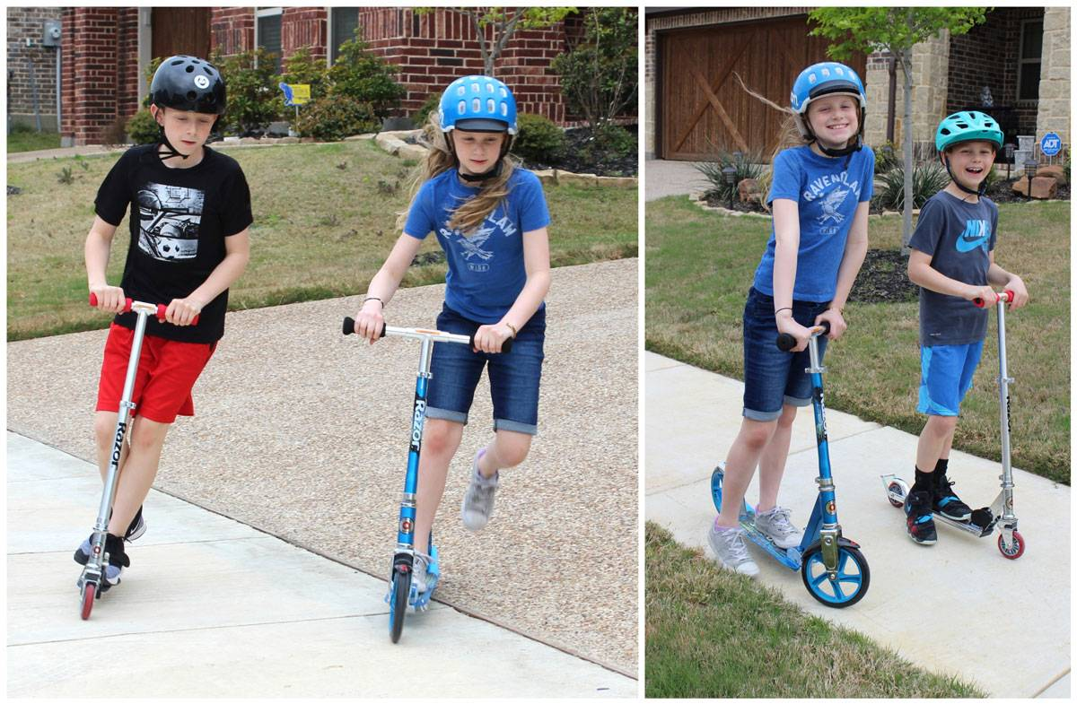 10-year-old boy riding the Razor A2 kick scooter in his neighborhood with his 10-year-old sister riding the Razor A5