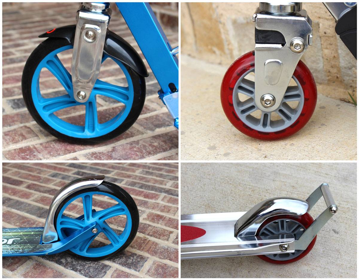 Front wheels and back wheels with fender brakes of the Razor A5 and A2 scooters