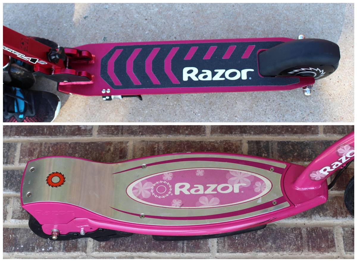 Side by side comparison of foot decks of Razor Power A2 and E100