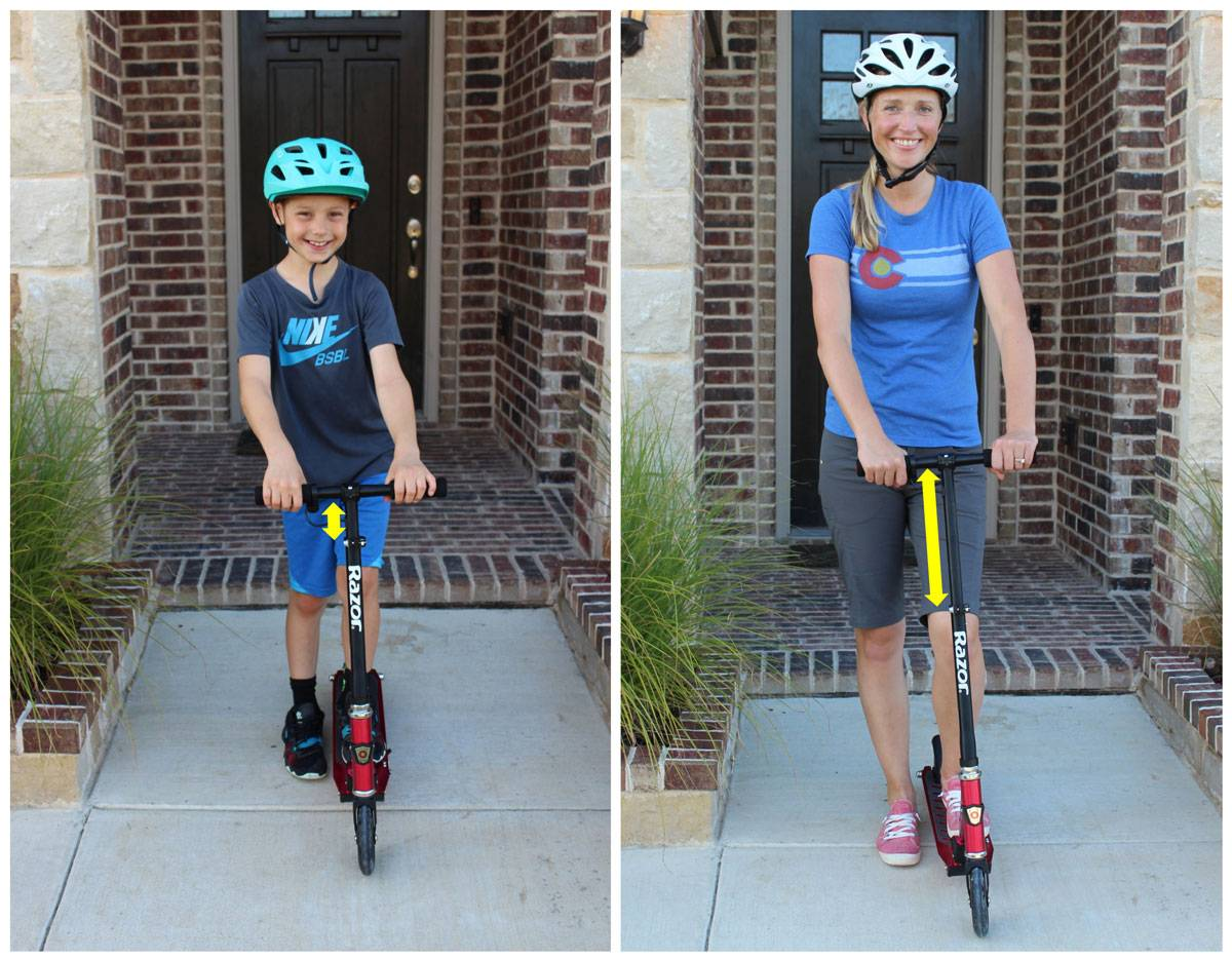 8-year-old and his mom side by side on the Razor Power A2. He has handlebars at lowest height, she has handlebars at highest