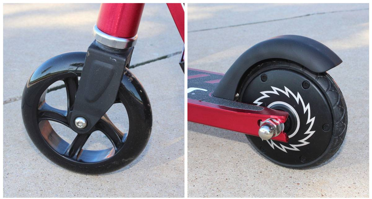 Front and rear wheels on the Razor Power A2 electric scooter