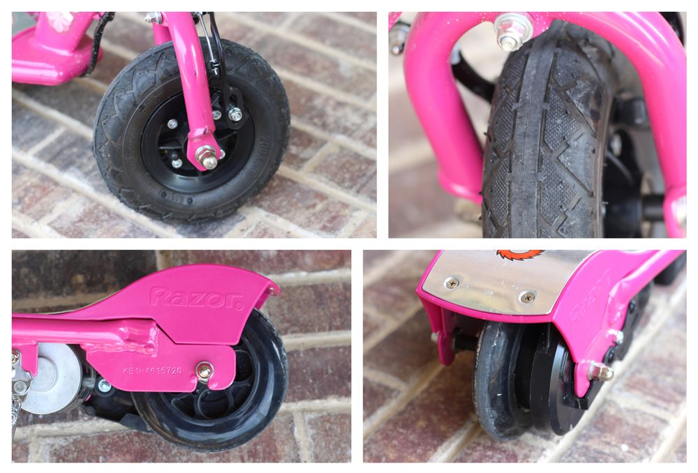 Razor E100 electric scooter front air tire and rear plastic tire.
