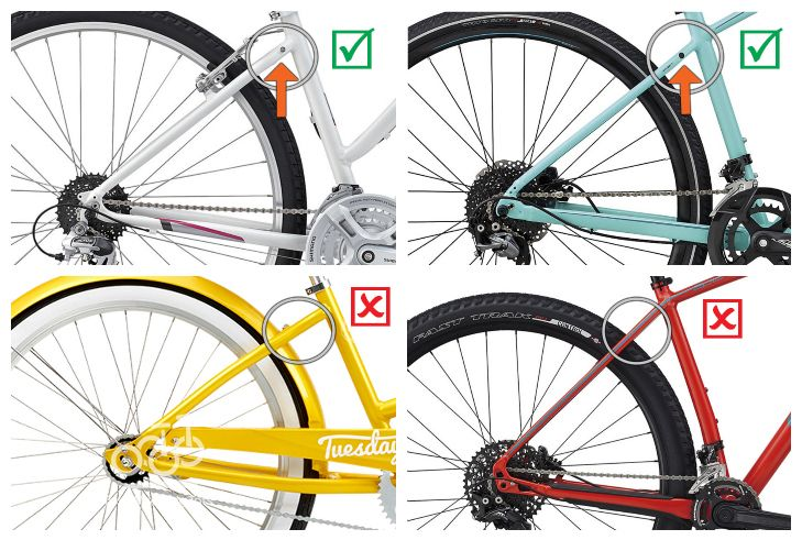 Collage showing where to find eyelets on a bike for mounting a bike rack