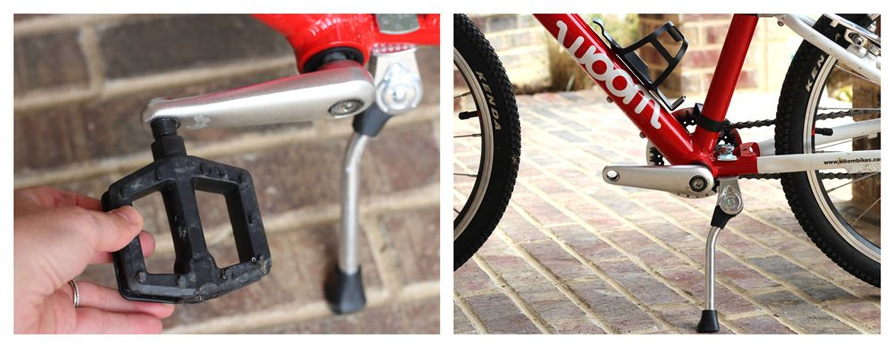 Crank arm with pedal attached, then crank arm with pedal removed.