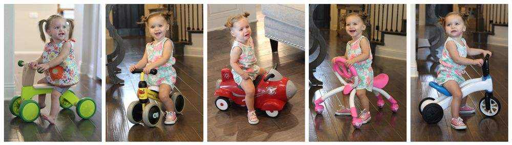 1-year-old riding on the Hape Scoot Around, Radio Flyer Retro Rocket, Pewi YBike, and Chillafish Bunzi.