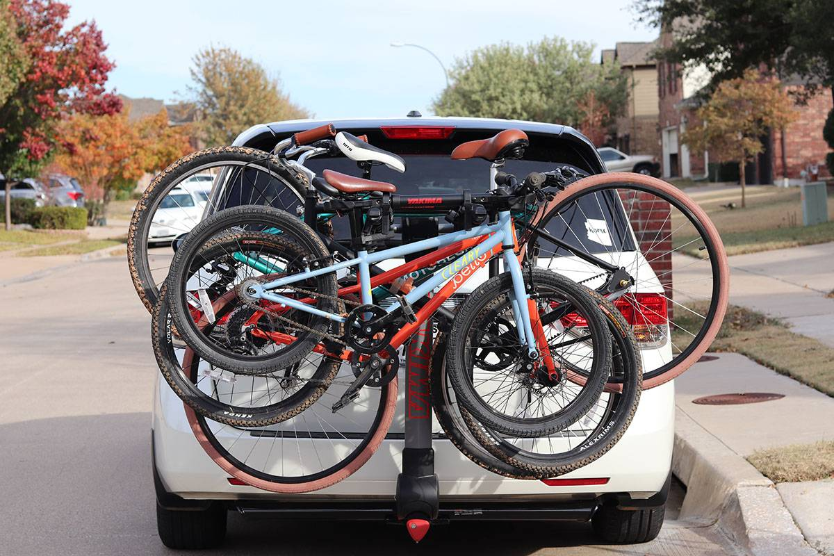Yakima RidgeBack Hanging Bike Rack loaded on the back of a Honda Odessy