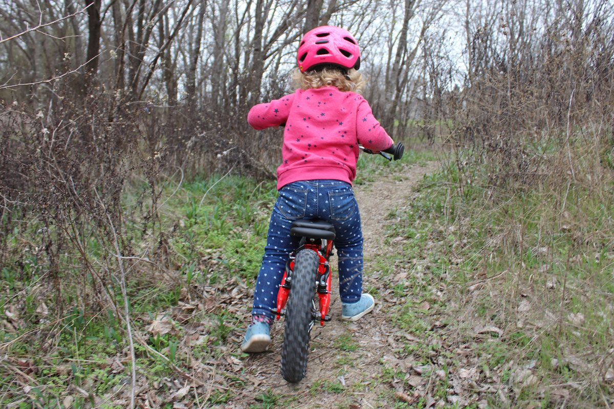 Toddler riding Ridgeback Scoot balance bike through the forest on a trail, shot from behind.