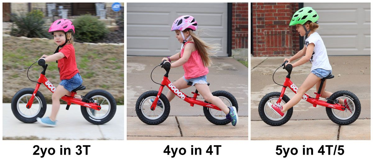 Side by side comparison of 2 year old, 4 year old, and 5 year old on Ridgeback Scoot.