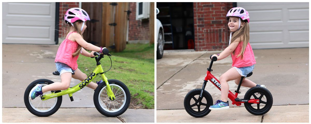 Side by side comparison of Ridgeback Scoot XL and Strider with 4 year old. The Strider is more cramped.