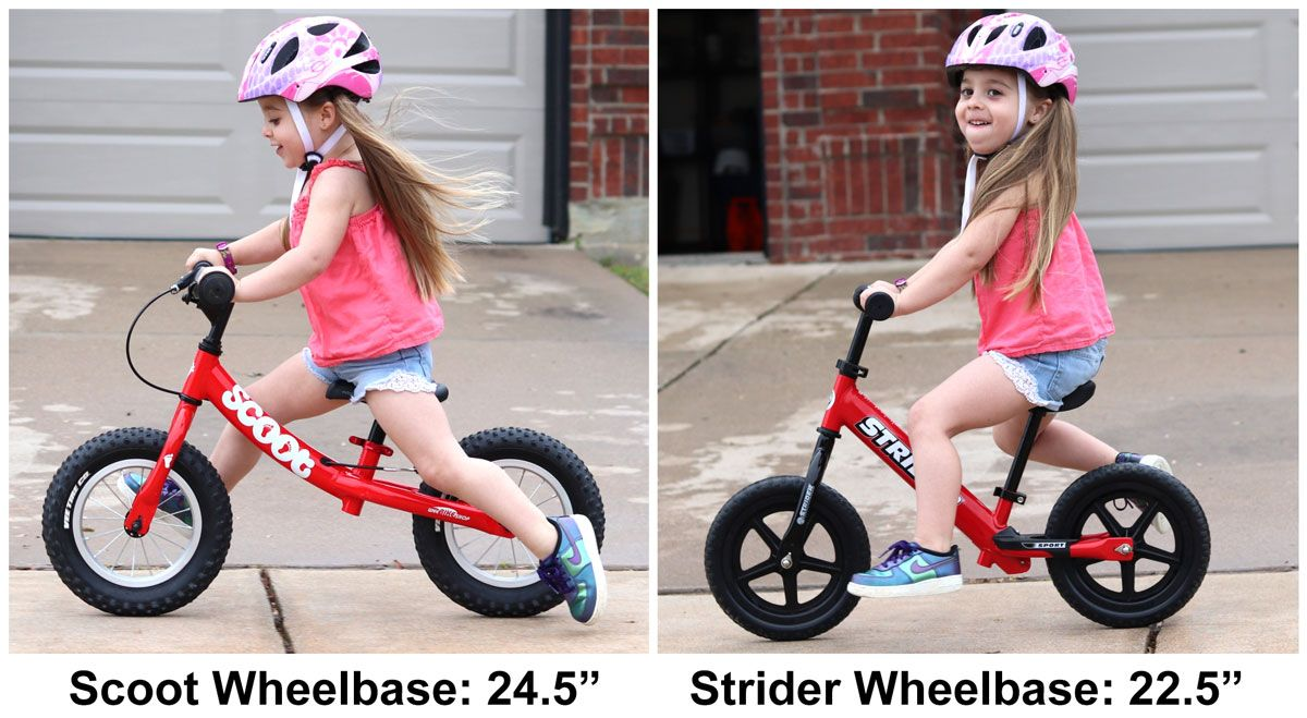 Side by side comparison of RIdgeback Scoot and Strider balance bikes. The Scoot is 2 inches longer than the Strider.