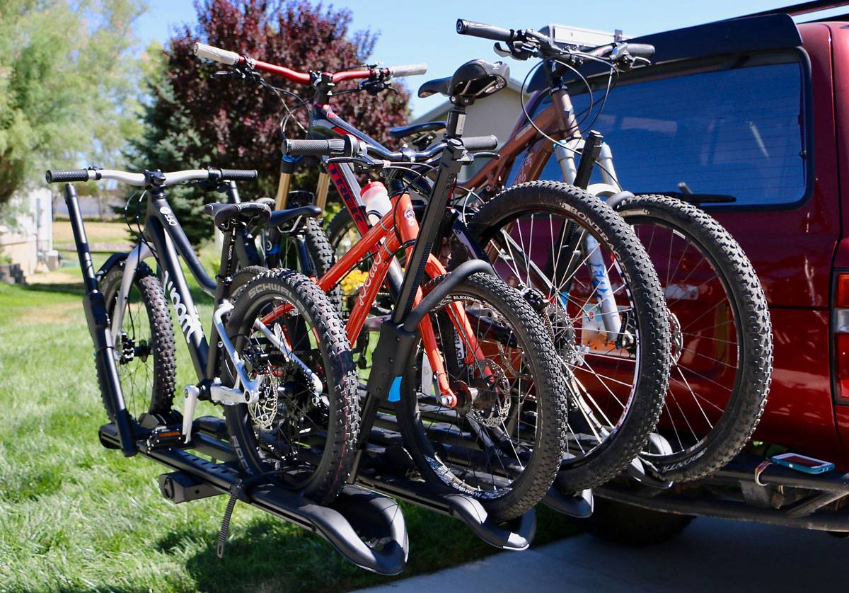 RockyMounts SplitRail LS bike car rack - loaded with 4 bikes on the back of a Landcruiser
