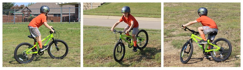 Three action shots of a 6-year-old riding the Rowdy 20. Standing up while riding across a grassy field, riding down a hill, and leaning into a turn on packed dirt.