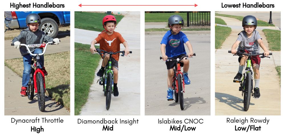 4 images of kids' bikes on a spectrum of highest handlebars to lowest handlebars. From Highest to Lowest: Dynacraft Throtle, Diamondback Insight, Islabikes CNOC, and Raleigh Rowdy