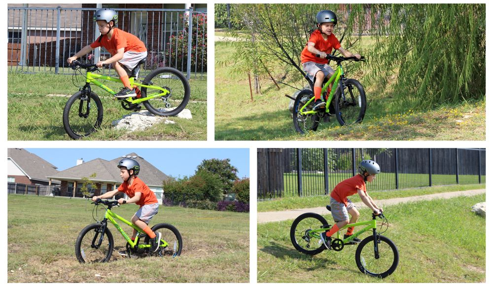 Four action shots of a 6-year-old riding the Raleigh Rowdy 20 kid's bike. Going over a rock, riding up a grassy hill, riding through a dirt rut, and riding down a grassy hill.