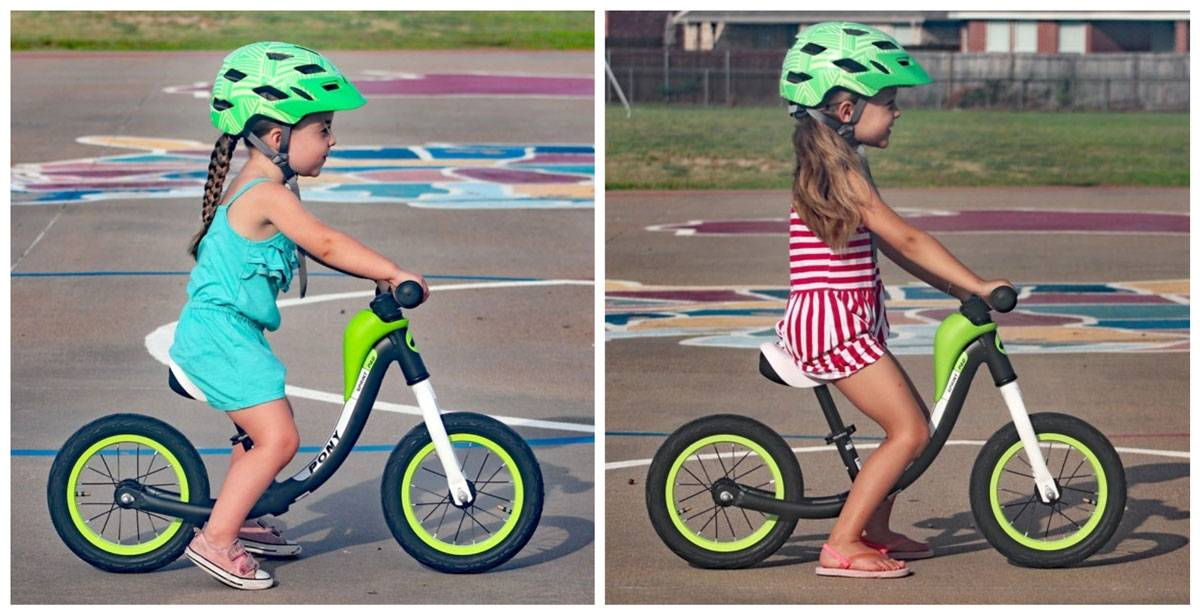 3 year old riding RoyalBaby Pony balance bike compared to 4 year old sister on the same bike