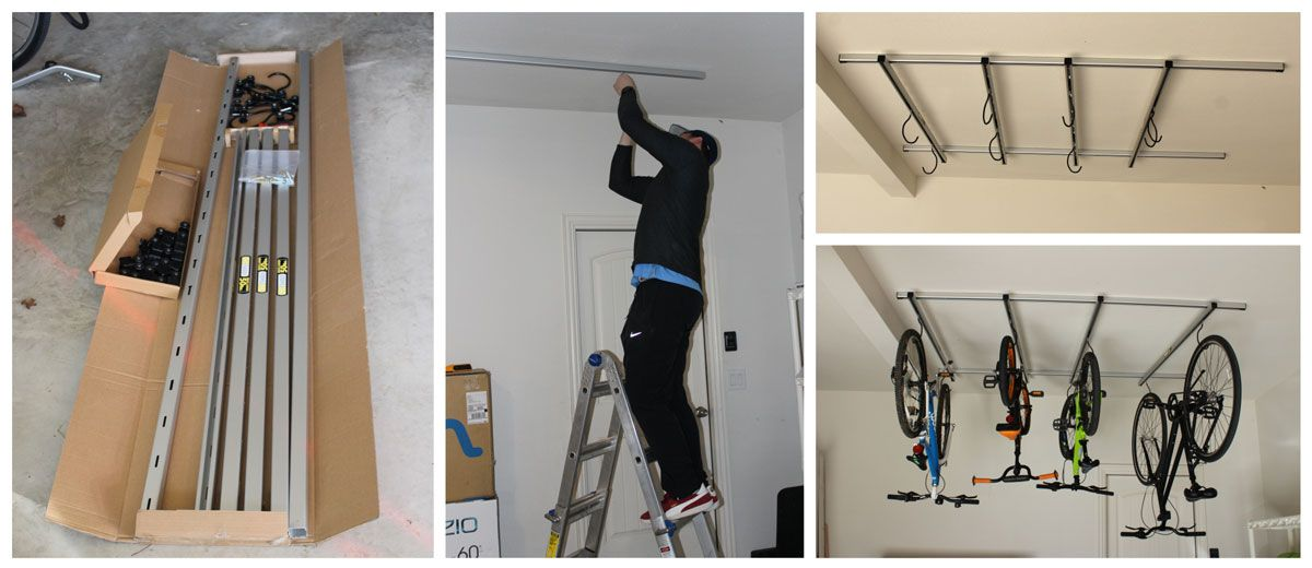 Saris Cycle Glide parts lying in a box. Man on a ladder securing Cycle Glide track to ceiling. Finished installation of Saris Cycle Glide with 4 gliding rails and hooks, without bikes, then with.