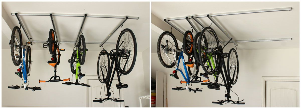 Saris Cycle Glide with all four gliding rails evenly spaced, and then all moved to one side.