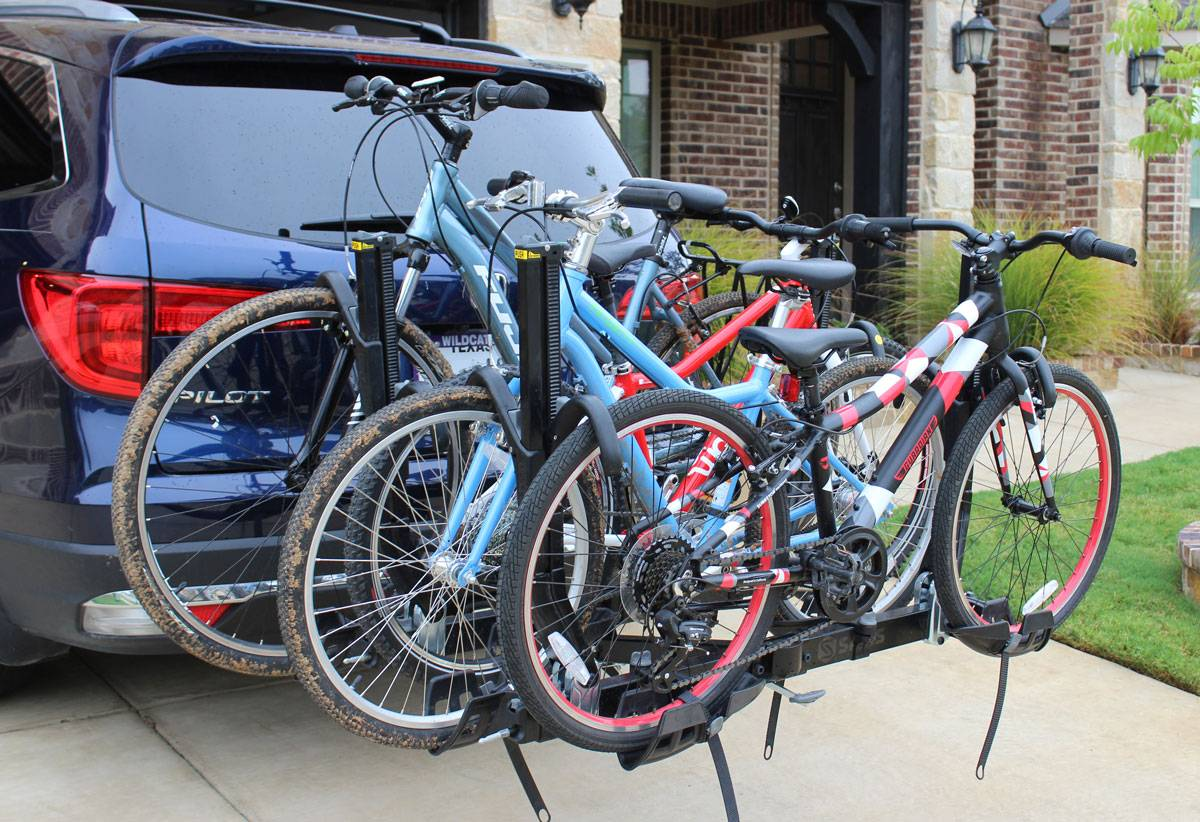 Saris Super Clamp EX 4 bike car rack loaded up with 4 bikes