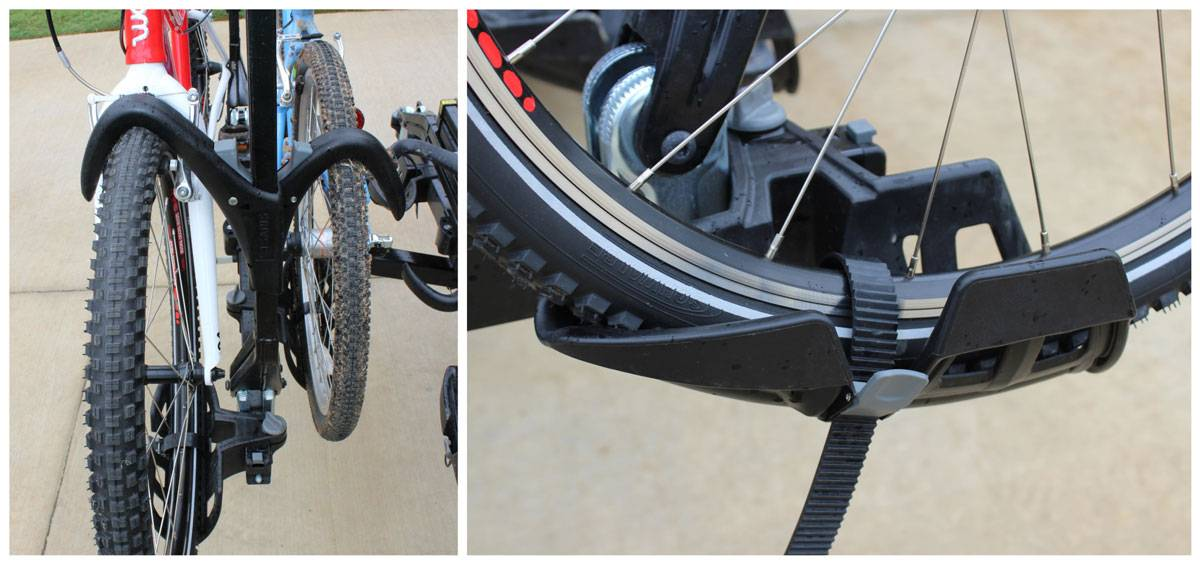 Saris Super Clamp EX 4 bike car rack - shepherds hooks clamped down on 2 tires, wheel tied down in tire tray
